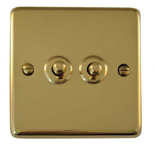 G&H CB282 Standard Plate Polished Brass 2 Gang 1 or 2 Way Toggle Light Switch